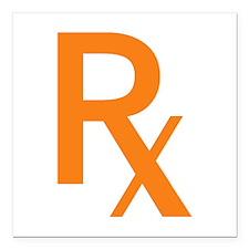 """Orange Rx Symbol Square Car Magnet 3"""" x 3"""""""
