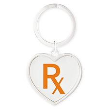 Orange Rx Symbol Heart Keychain