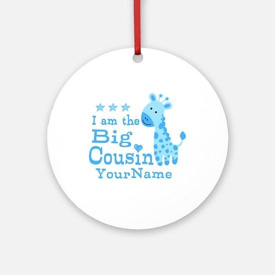 Blue Giraffe Personalized Big Cousin Ornament (Rou