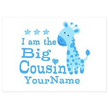 Blue Giraffe Personalized Big Cousin 5x7 Flat Card