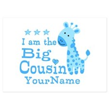 Blue Giraffe Personalized Big Cousin Invitations