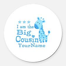 Blue Giraffe Personalized Big Cousin Round Car Mag