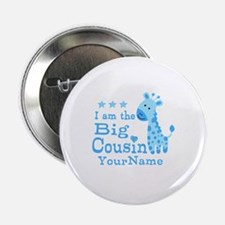"Blue Giraffe Personalized Big Cousin 2.25"" Button"