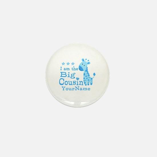 Blue Giraffe Personalized Big Cousin Mini Button