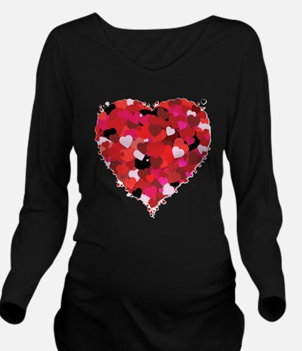 Lots Of Love Heart Long Sleeve Maternity T-Shirt