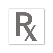 "Grey Rx Square Sticker 3"" x 3"""
