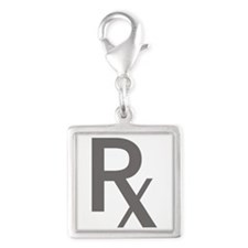 Grey Rx Silver Square Charm