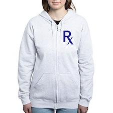 Blue Rx Symbol Zip Hoodie