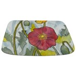 Watercolor Poppy Blossom Bathmat