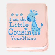 Blue Giraffe Personalized Little Cousin baby blank