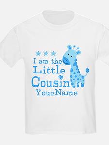 Blue Giraffe Personalized Little Cousin T-Shirt