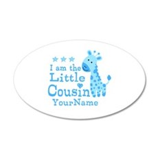 Blue Giraffe Personalized Little Cousin Wall Decal