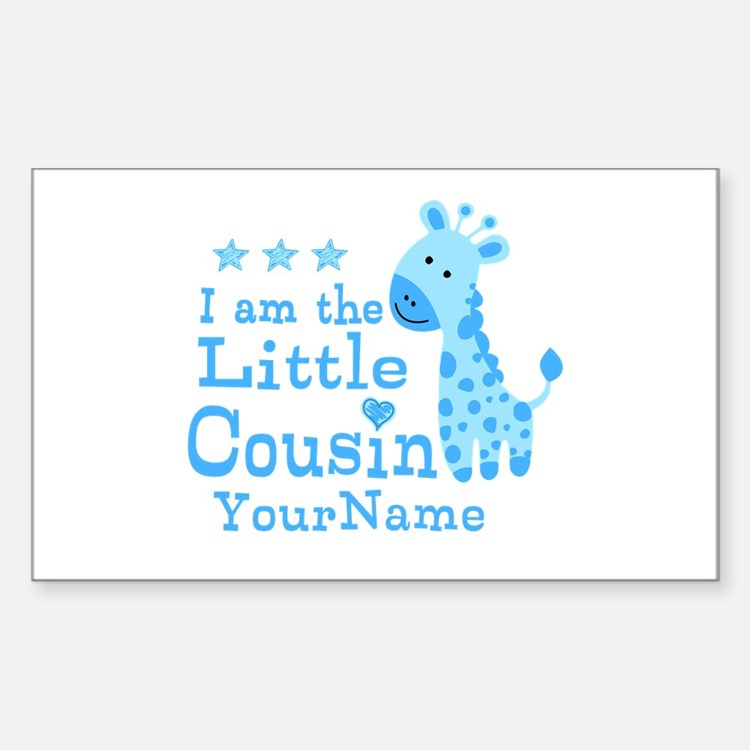 Blue Giraffe Personalized Little Cousin Decal