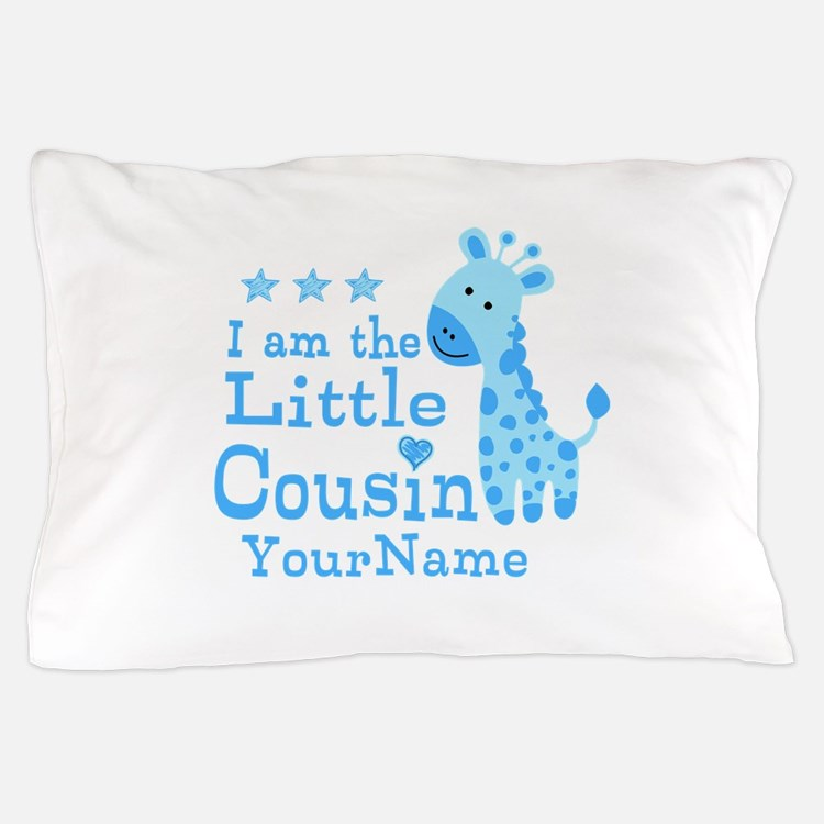 Blue Giraffe Personalized Little Cousin Pillow Cas