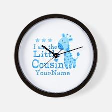 Blue Giraffe Personalized Little Cousin Wall Clock