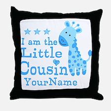 Blue Giraffe Personalized Little Cousin Throw Pill