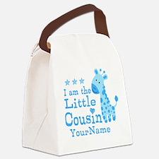 Blue Giraffe Personalized Little Cousin Canvas Lun