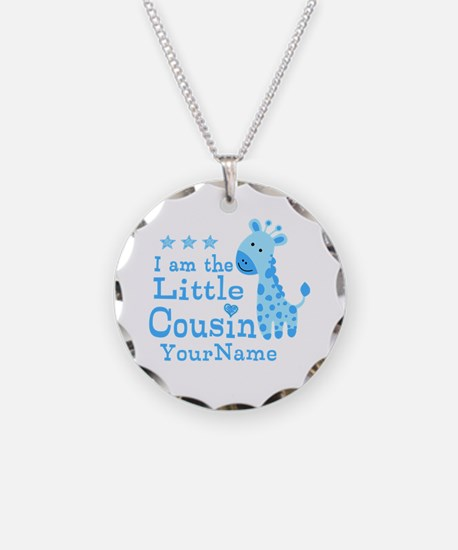 Blue Giraffe Personalized Little Cousin Necklace