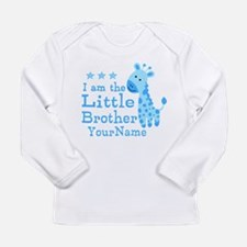 Little Brother Blue Giraffe Personalized Long Slee