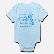 Little Brother Blue Giraffe Personalized Onesie