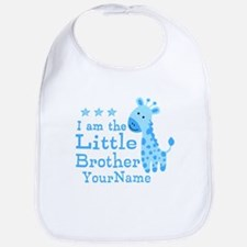 Little Brother Blue Giraffe Personalized Bib