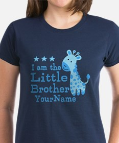 Little Brother Blue Giraffe Personalized Tee