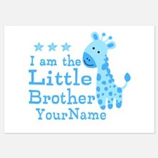 Little Brother Blue Giraffe Personalized Invitations