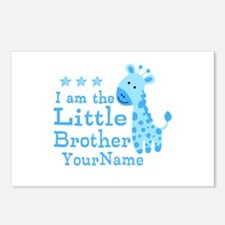 Little Brother Blue Giraffe Personalized Postcards