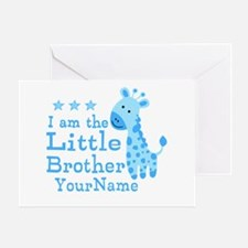Little Brother Blue Giraffe Personalized Greeting