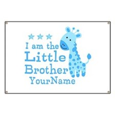 Little Brother Blue Giraffe Personalized Banner