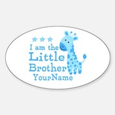 Little Brother Blue Giraffe Personalized Decal