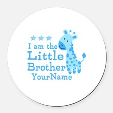 Little Brother Blue Giraffe Personalized Round Car