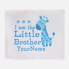 Little Brother Blue Giraffe Personalized Throw Bla
