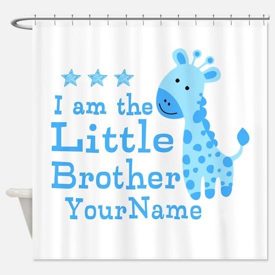 Little Brother Blue Giraffe Personalized Shower Cu