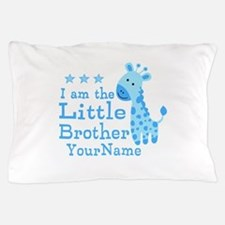 Little Brother Blue Giraffe Personalized Pillow Ca
