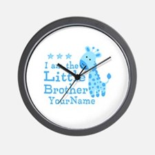 Little Brother Blue Giraffe Personalized Wall Cloc