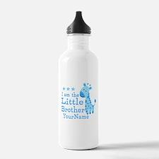 Little Brother Blue Giraffe Personalized Water Bottle