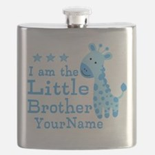 Little Brother Blue Giraffe Personalized Flask