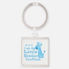 Little Brother Blue Giraffe Personalized Square Ke