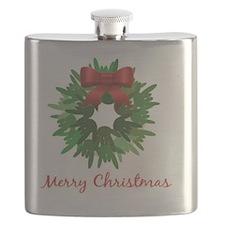 I Love You Christmas Wreath Flask