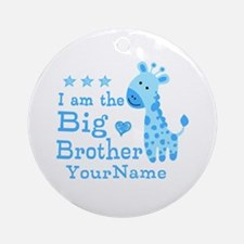 Giraffe Big Brother Personalized Ornament (Round)