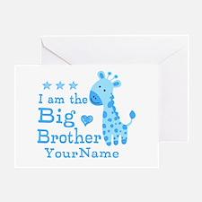 Giraffe Big Brother Personalized Greeting Card