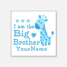 Giraffe Big Brother Personalized Square Sticker 3""