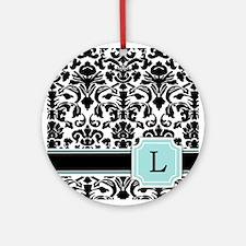 Letter L Black Damask Personal Monogram Ornament (