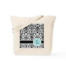 Letter L Black Damask Personal Monogram Tote Bag