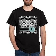 Letter L Black Damask Personal Monogram T-Shirt