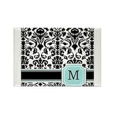 Letter M Black Damask Personal Monogram Magnets