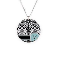 Letter M Black Damask Personal Monogram Necklace