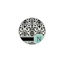 Letter N Black Damask Personal Monogram Mini Butto