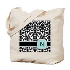 Letter N Black Damask Personal Monogram Tote Bag